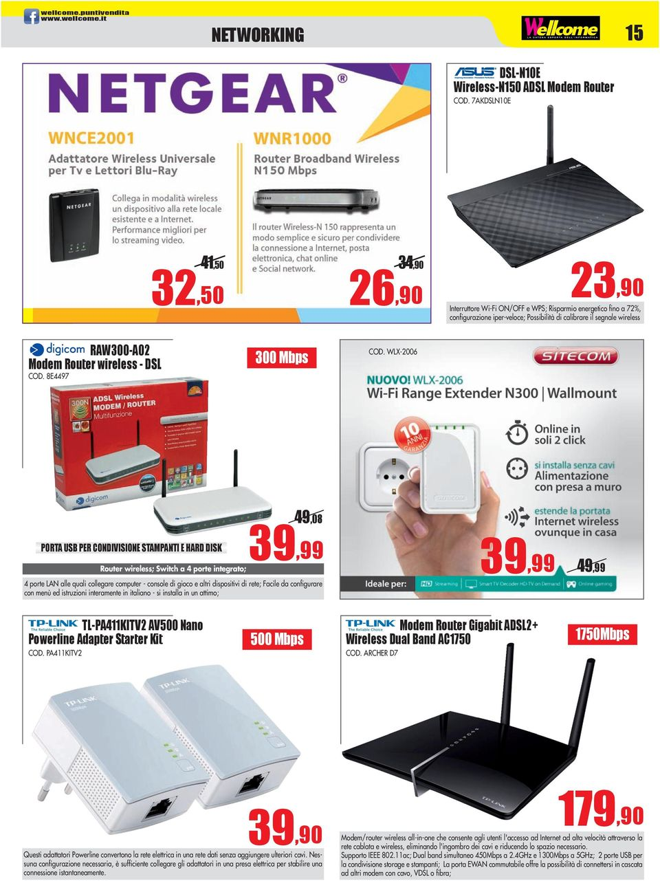 router wireless - dsl COD. 8E4497 300 mbps COD.