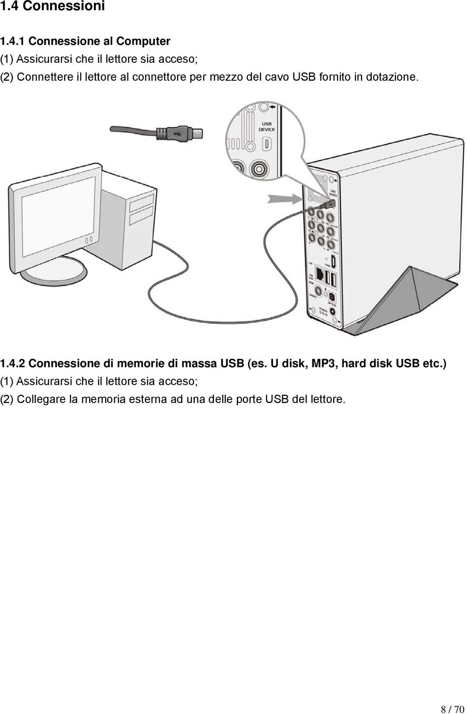 2 Connessione di memorie di massa USB (es. U disk, MP3, hard disk USB etc.