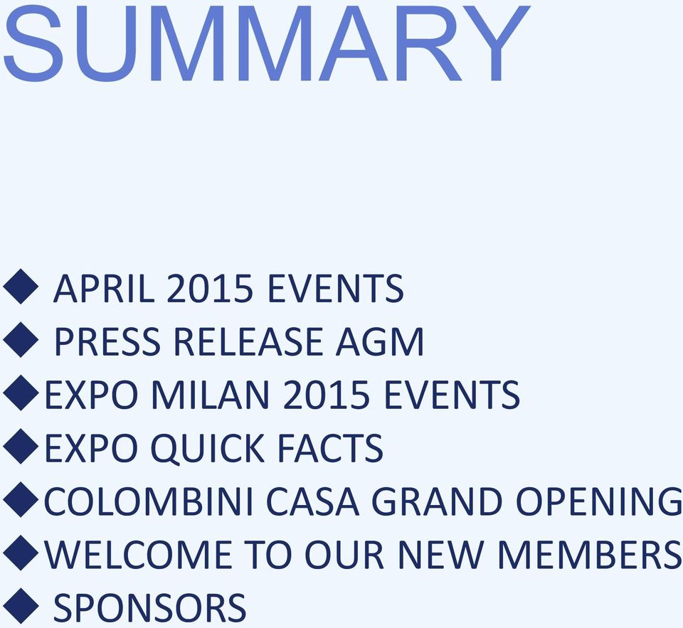 EXPO QUICK FACTS COLOMBINI CASA