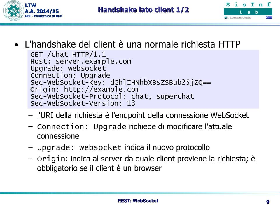 com Sec-WebSocket-Protocol: chat, superchat Sec-WebSocket-Version: 13 l'uri della richiesta è l'endpoint della connessione WebSocket Connection: