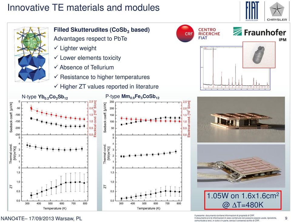 Tellurium Resistance to higher temperatures Higher ZT values reported in