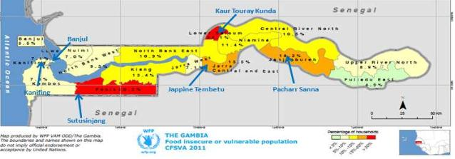 Fig. 3.23 -Insicurezza alimentare ed aree vulnerabili del Gambia (Fonte: The World Food Programme. Fotografia visibile in http://documents.wfp.org/stellent/groups/public/documents/ena/wfp244670.
