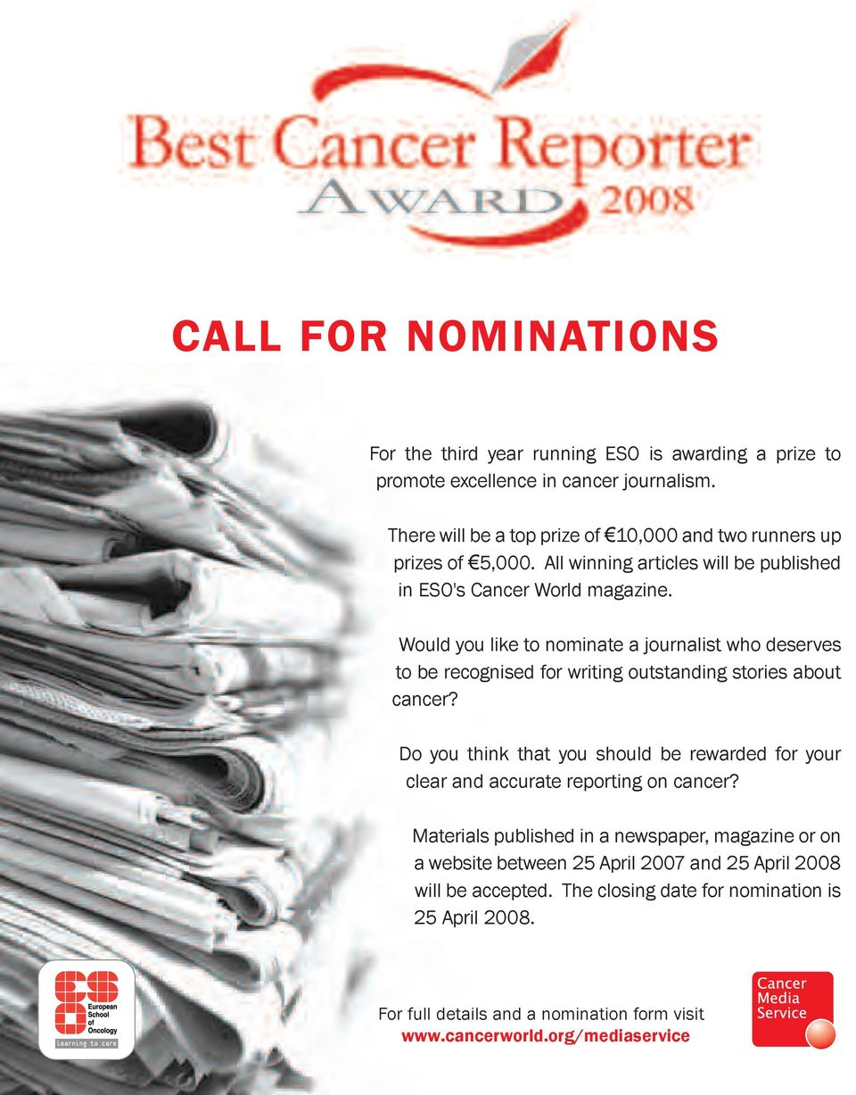 Would you like to nominate a journalist who deserves to be recognised for writing outstanding stories about cancer?