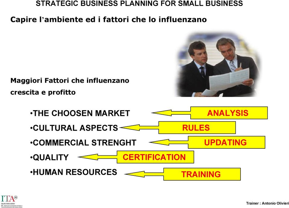 profitto ANALYSIS THE CHOOSEN MARKET RULES CULTURAL ASPECTS UPDATING