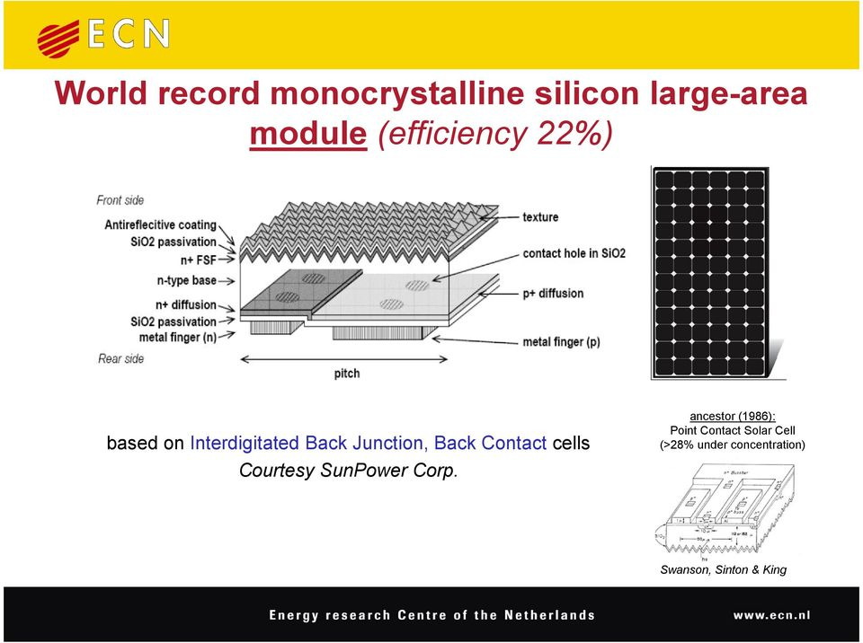 Contact cells Courtesy SunPower Corp.