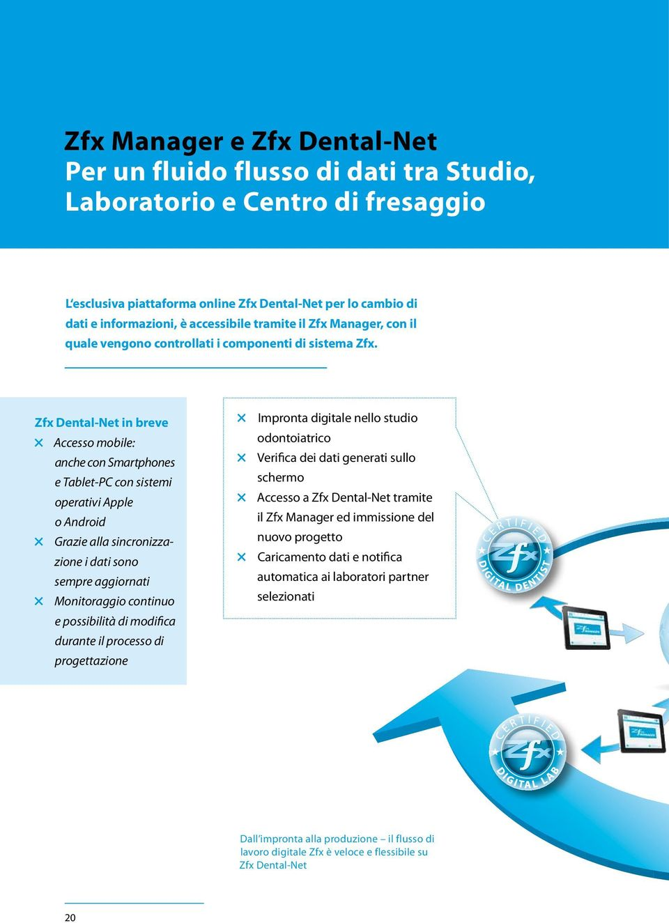 Zfx Dental-Net in breve Accesso mobile: anche con Smartphones e Tablet-PC con sistemi operativi Apple o Android Grazie alla sincronizzazione i dati sono sempre aggiornati Monitoraggio continuo e