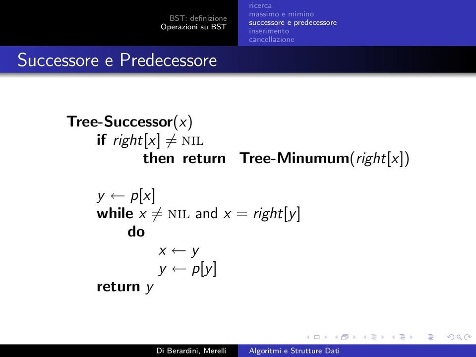 return Tree-Minumum(right[x]) y p[x]