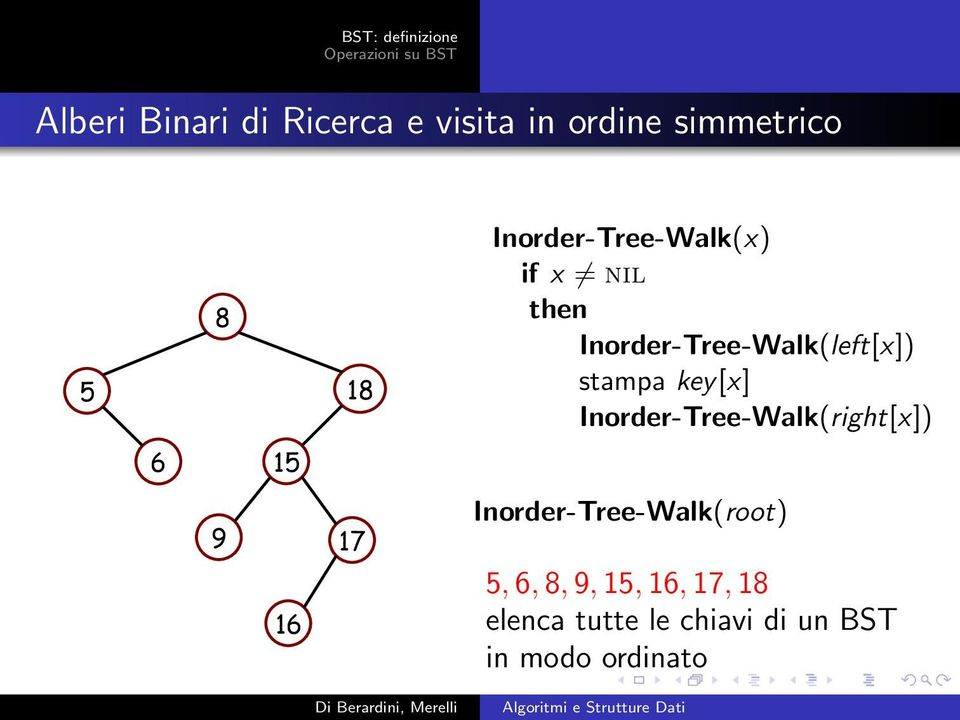 key[x] Inorder-Tree-Walk(right[x]) 6 1 9 17 16