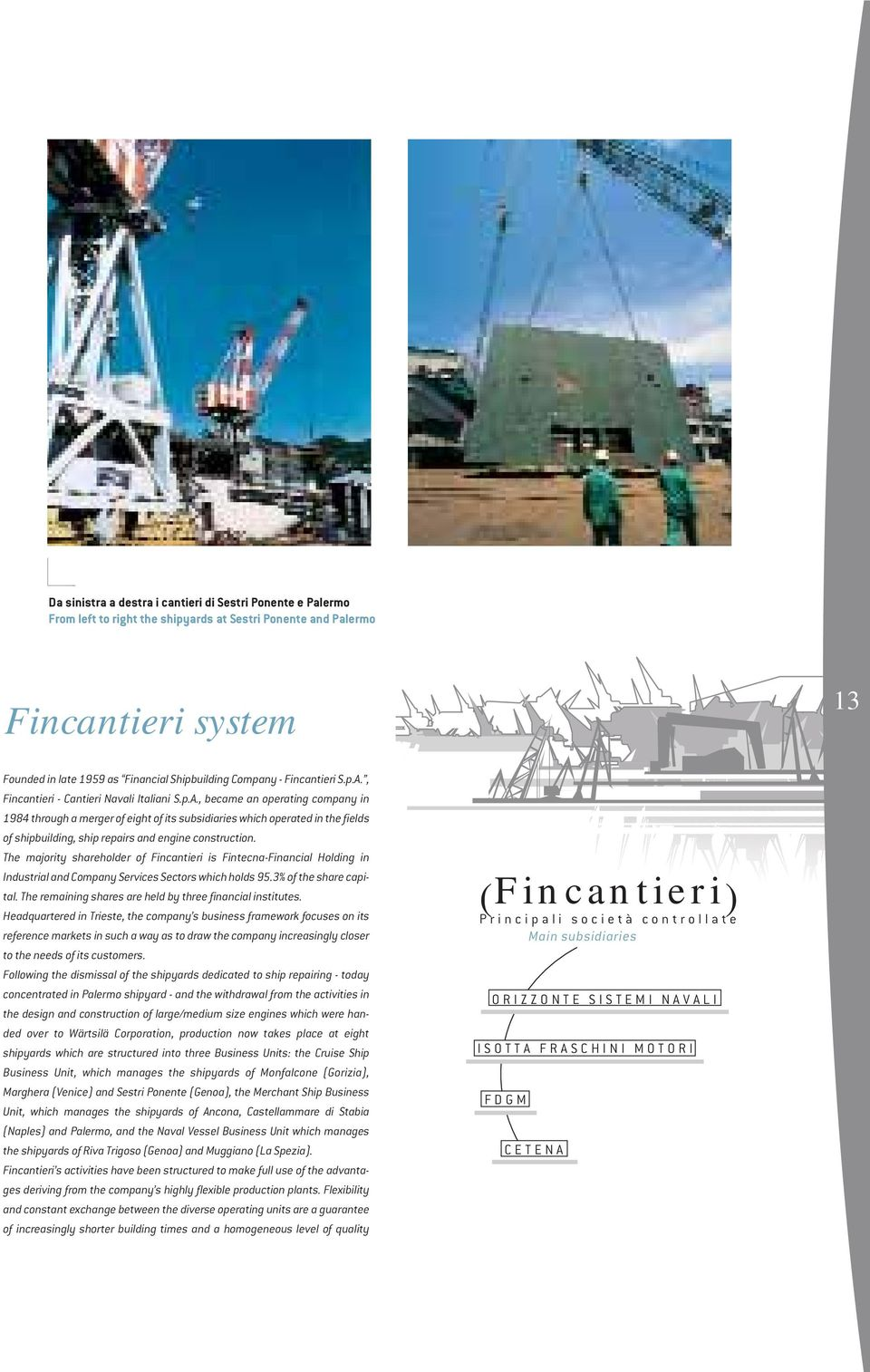 The majority shareholder of Fincantieri is Fintecna-Financial Holding in Industrial and Company Services Sectors which holds 95.3% of the share capital.