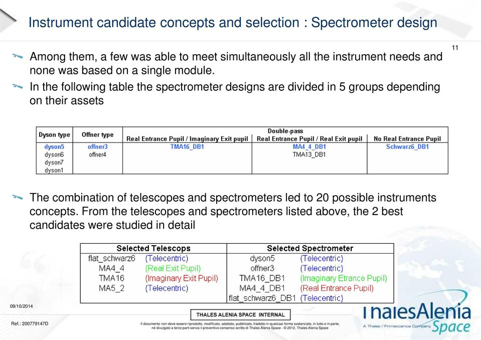 In the following table the spectrometer designs are divided in 5 groups depending on their assets 11 The combination