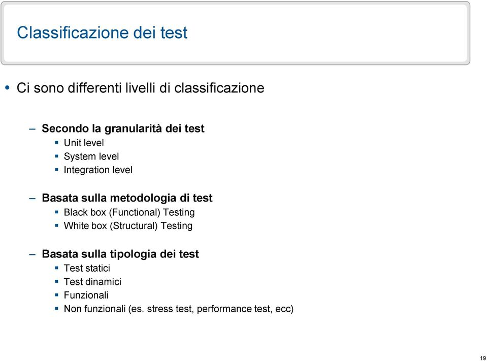test Black box (Functional) Testing White box (Structural) Testing Basata sulla tipologia