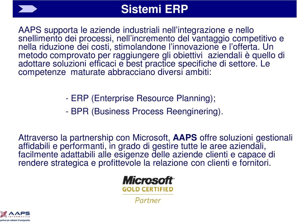 Le competenze maturate abbracciano diversi ambiti: - ERP (Enterprise Resource Planning); - BPR (Business Process Reenginering).