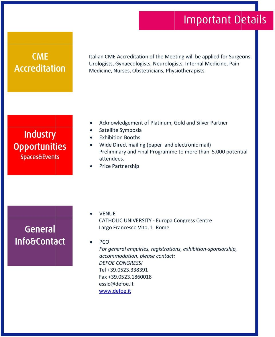 Industry Opportunities Spaces&Events Acknowledgement of Platinum, Gold and Silver Partner Satellite Symposia Exhibition Booths Wide Direct mailing (paper and electronic mail) Preliminary and