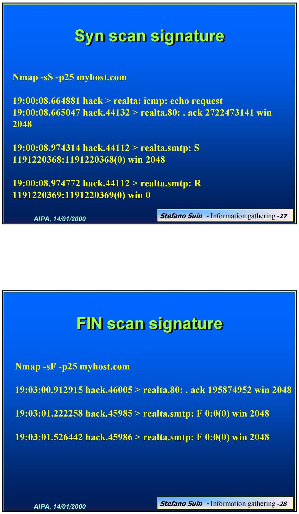 smtp: S 1191220368:1191220368(0) win 2048 19:00:08.974772 hack.44112 > realta.