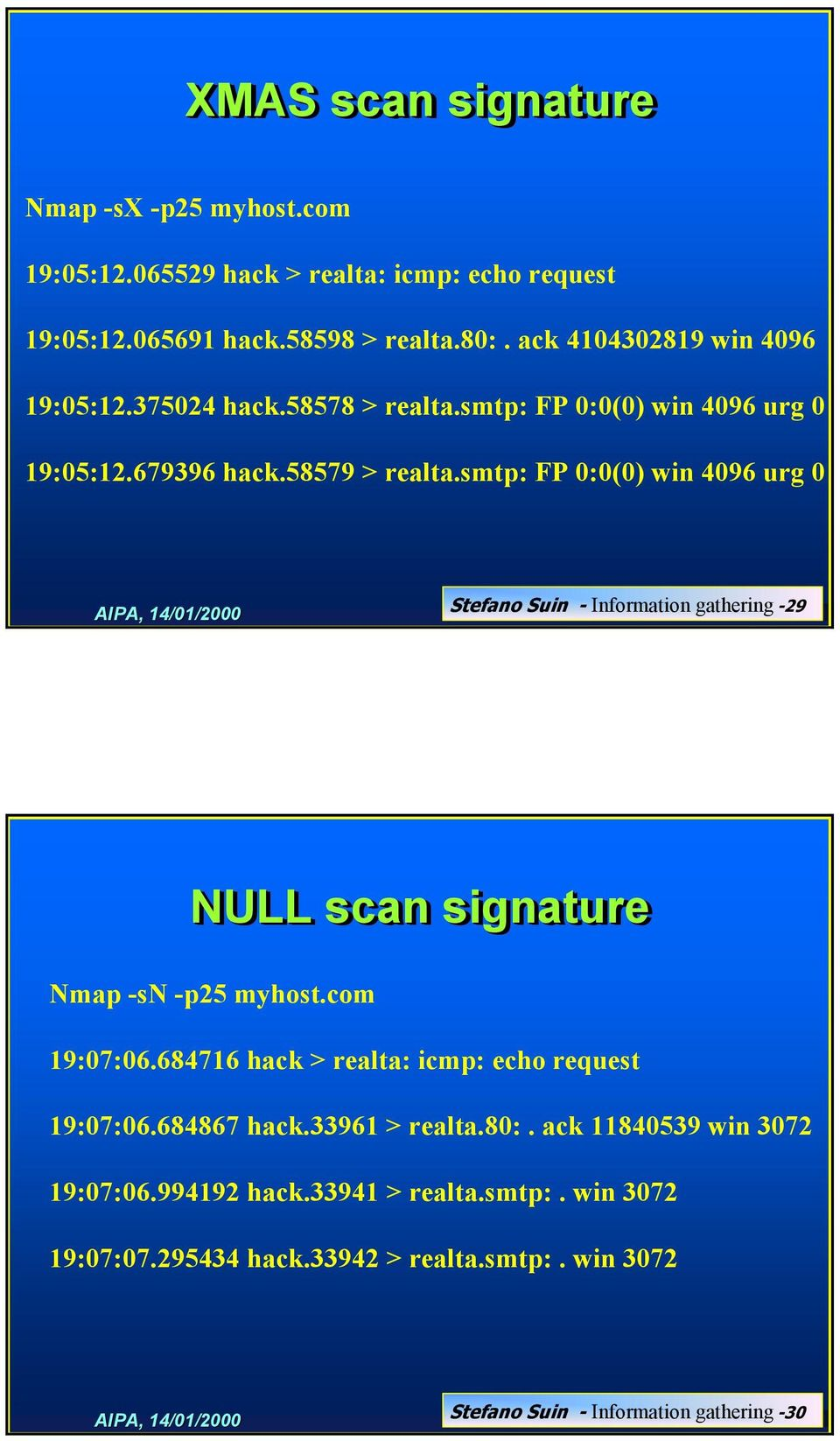 smtp: FP 0:0(0) win 4096 urg 0 Stefano Suin - Information gathering -29 NULL scan signature Nmap -sn -p25 myhost.com 19:07:06.