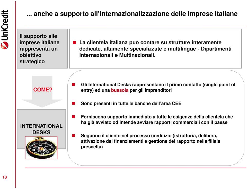 Gli International Desks rappresentano il primo contatto (single point of entry) ed una bussola per gli imprenditori Sono presenti in tutte le banche dell area CEE INTERNATIONAL DESKS