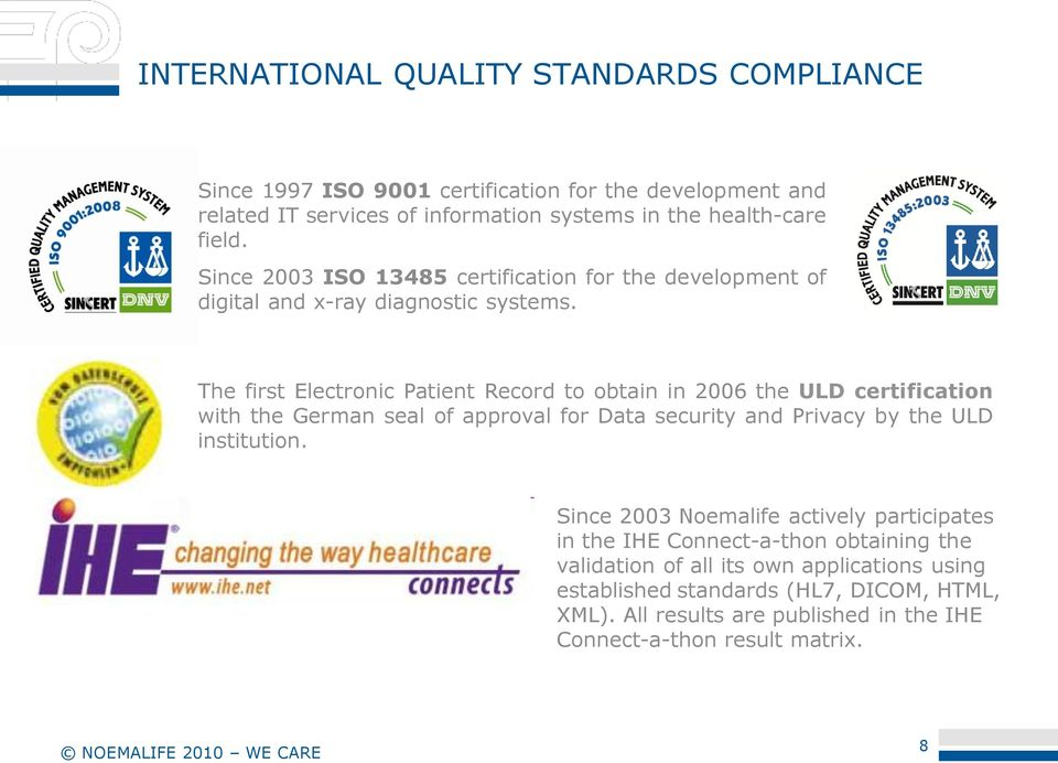 The first Electronic Patient Record to obtain in 2006 the ULD certification with the German seal of approval for Data security and Privacy by the ULD institution.