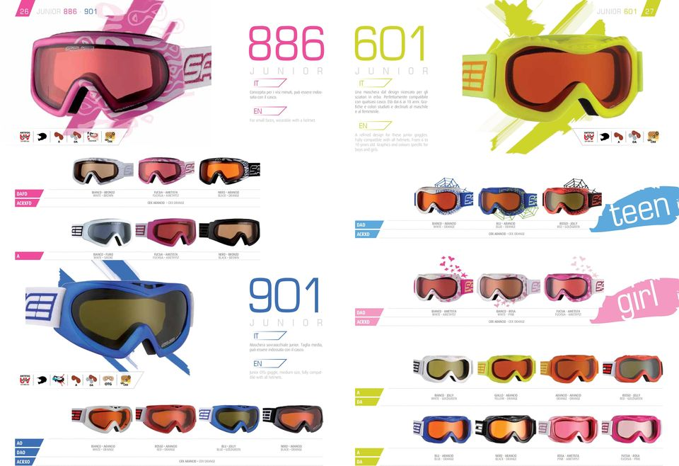 For small faces, wearable with a helmet. refined design for these junior goggles. Fully compatible with all helmets. From 6 to 10 years old. Graphics and colours specific for boys and girls.