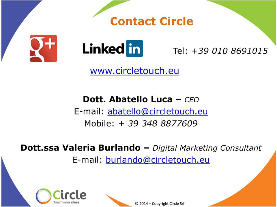 Abatello Luca CEO E-mail: abatello@circletouch.
