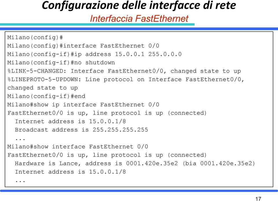 Interface FastEthernet0/0, changed state to up Milano(config-if)#end Milano#show ip interface FastEthernet 0/0 FastEthernet0/0 is up, line protocol is up (connected) Internet address