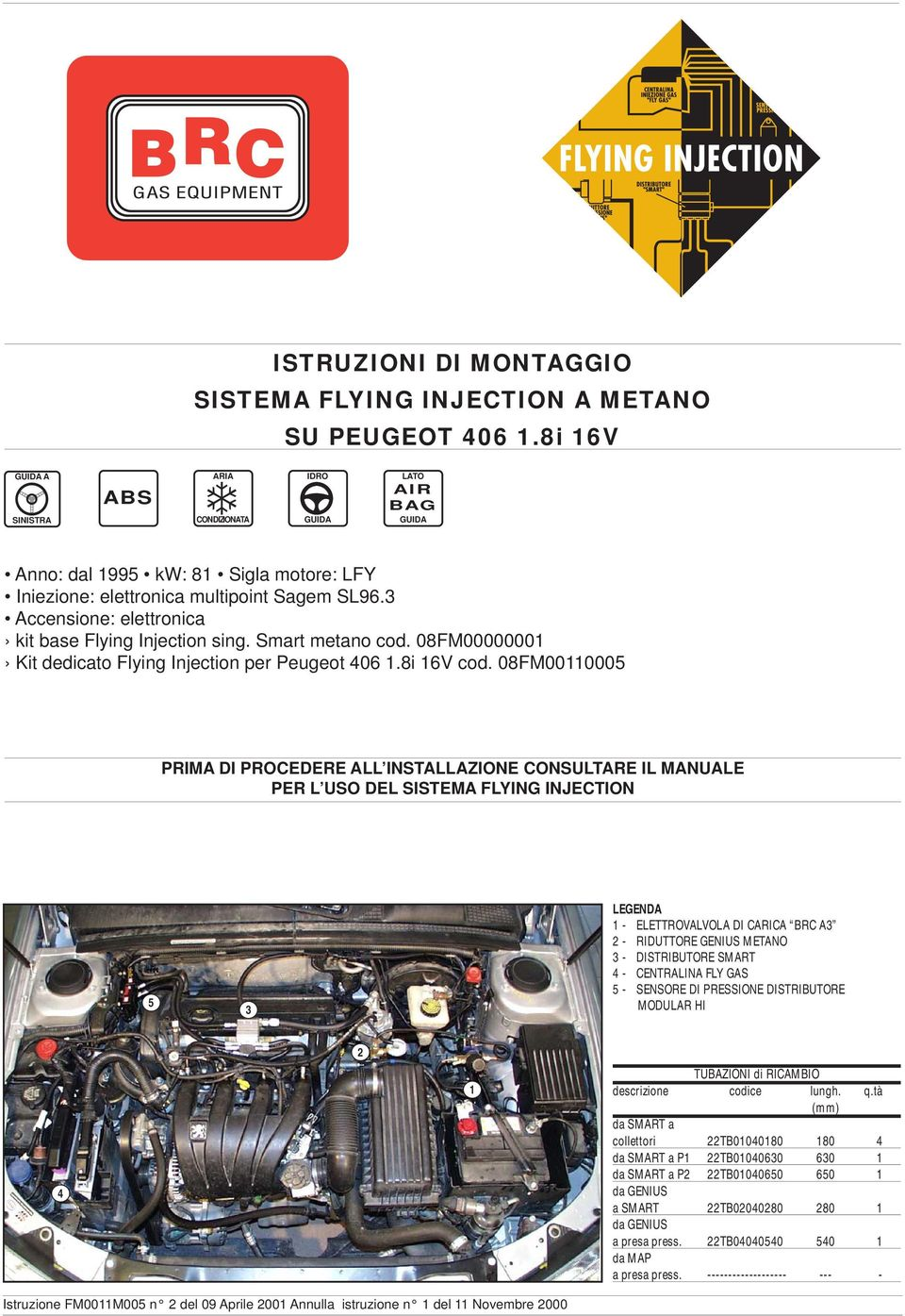 3 Accensione: elettronica kit base Flying Injection sing. Smart metano cod. 08FM00000001 Kit dedicato Flying Injection per Peugeot 406 1.8i 16V cod.