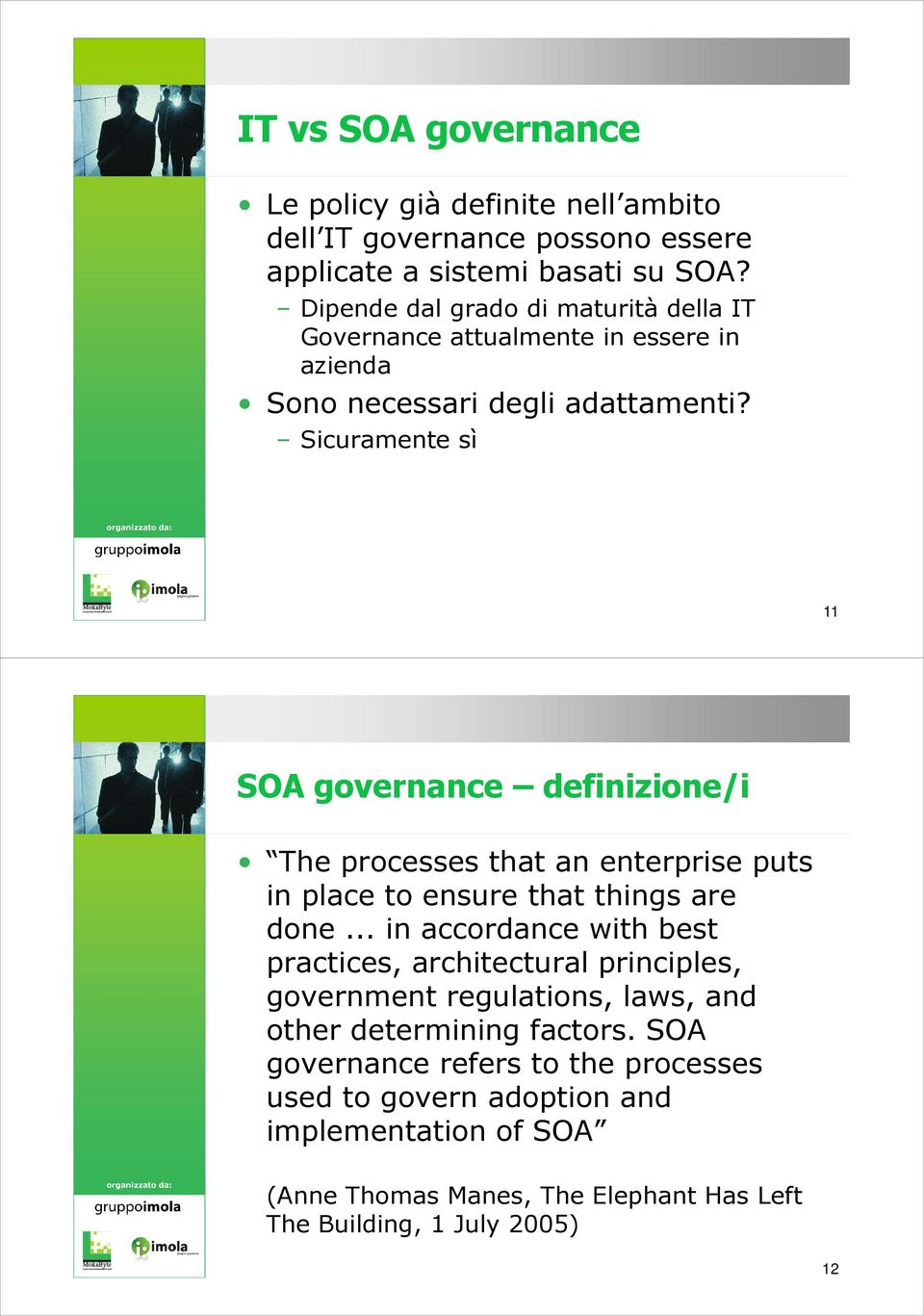 Sicuramente sì 11 SOA governance definizione/i The processes that an enterprise puts in place to ensure that things are done.