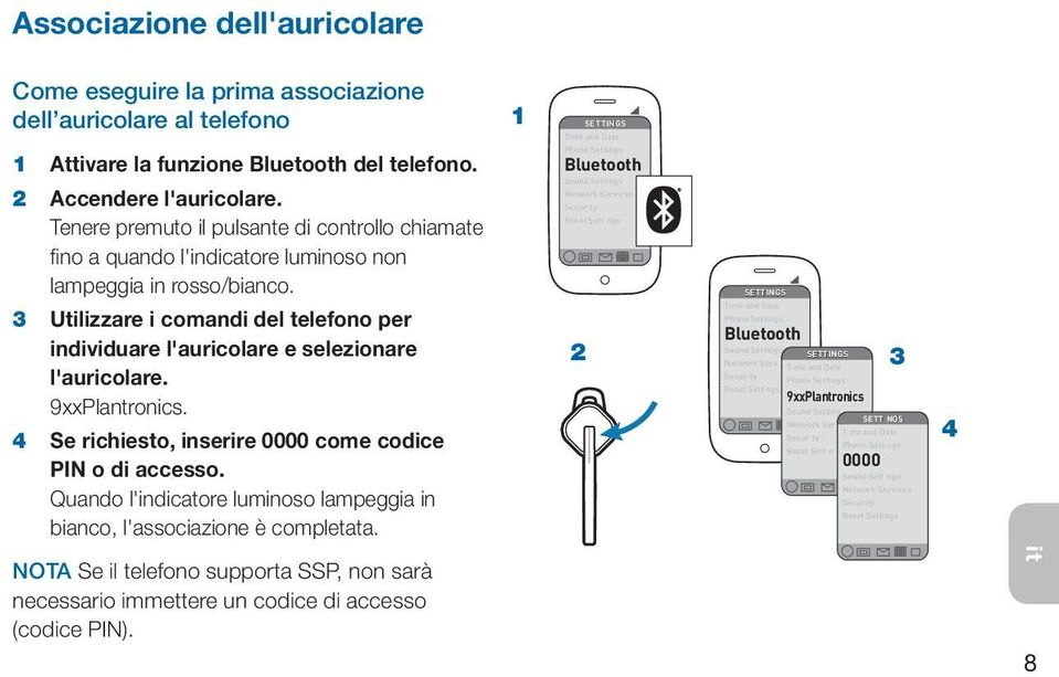 Phone Settings Bluetooth Sound Settings Network Services Secur ty Reset Sett ngs SETTINGS 3 Utilizzare i comandi del telefono per individuare l'auricolare e selezionare l'auricolare. 9xxPlantronics.