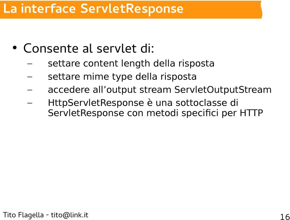 risposta accedere all output stream ServletOutputStream