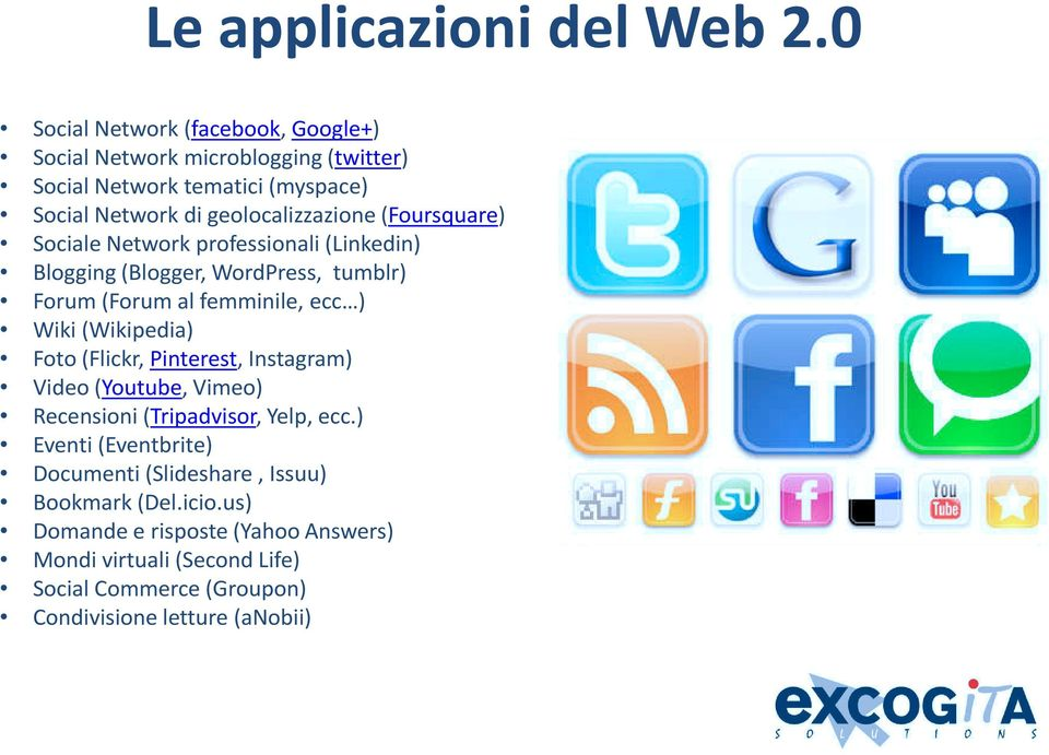 geolocalizzazione(foursquare) Sociale Network professionali (Linkedin) Blogging (Blogger, WordPress, tumblr) Forum (Forum al femminile, ecc )