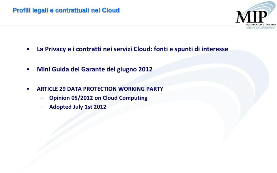 giugno 2012 ARTICLE 29 DATA PROTECTION WORKING
