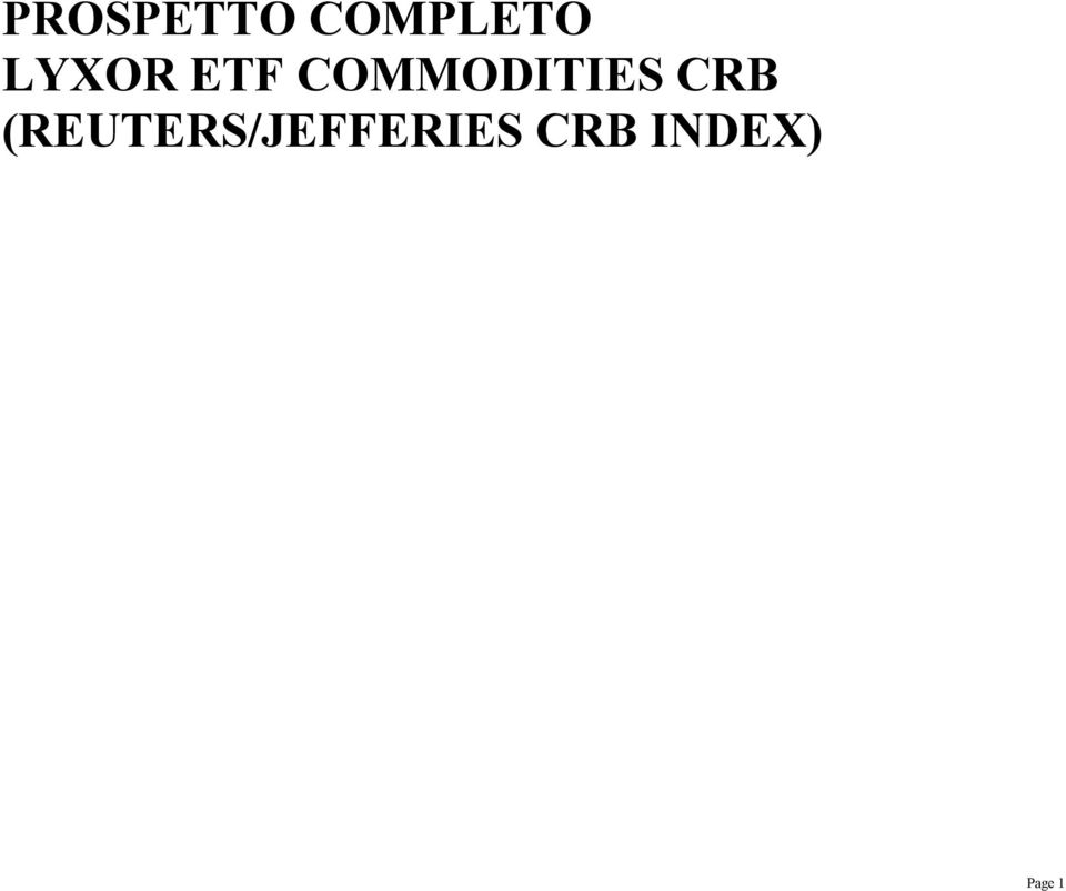 COMMODITIES CRB