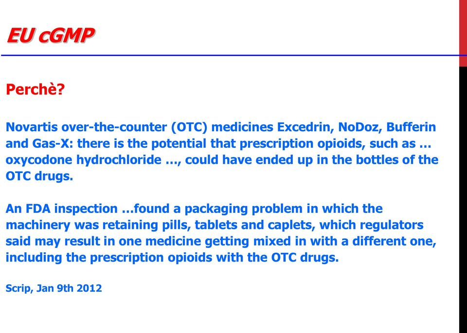 opioids, such as oxycodone hydrochloride, could have ended up in the bottles of the OTC drugs.