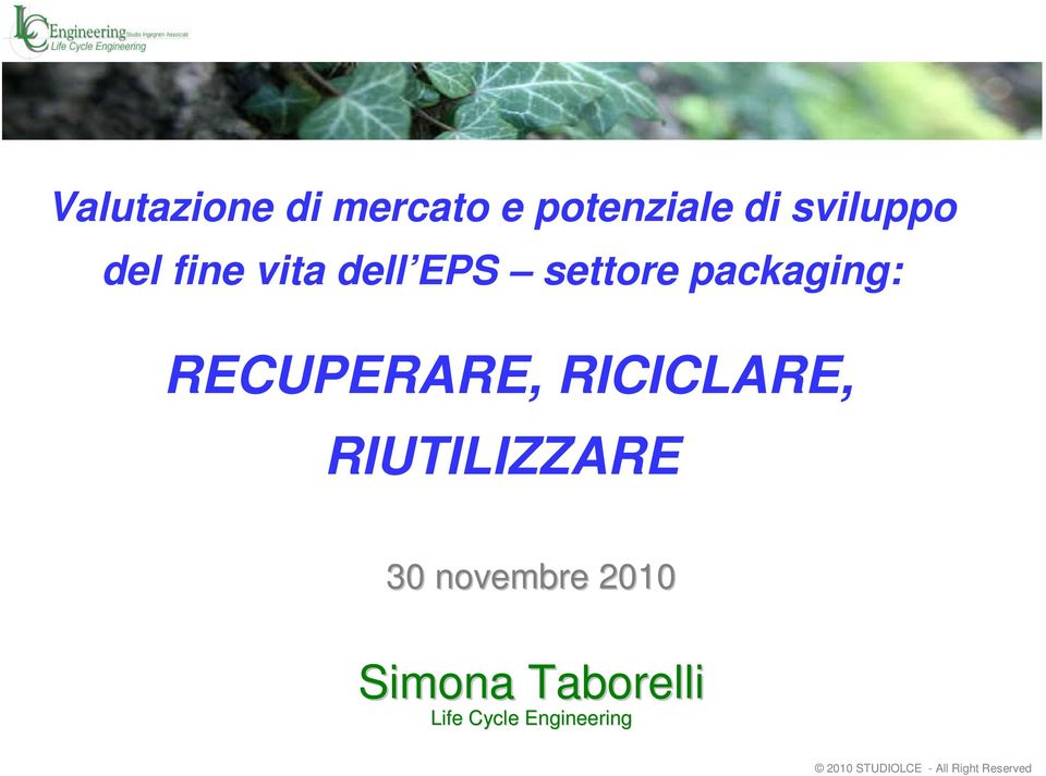 packaging: RECUPERARE, RICICLARE,