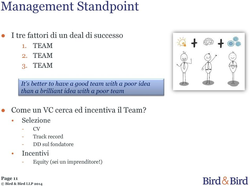 with a poor team Come un VC cerca ed incentiva il Team?