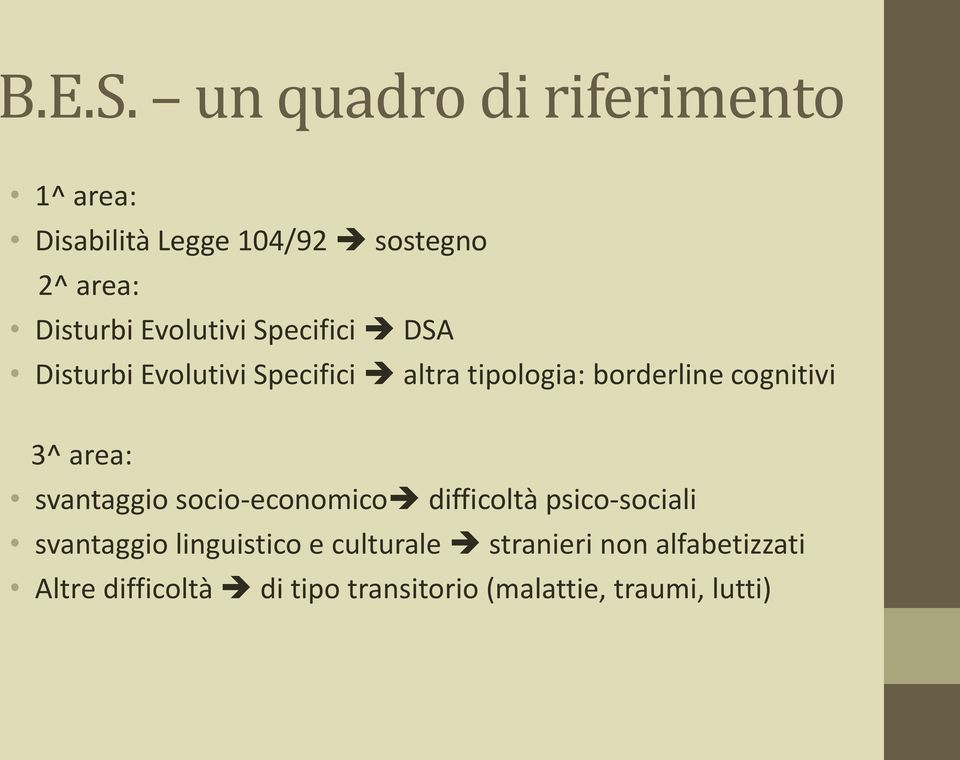 Evolutivi Specifici DSA Disturbi Evolutivi Specifici altra tipologia: borderline cognitivi