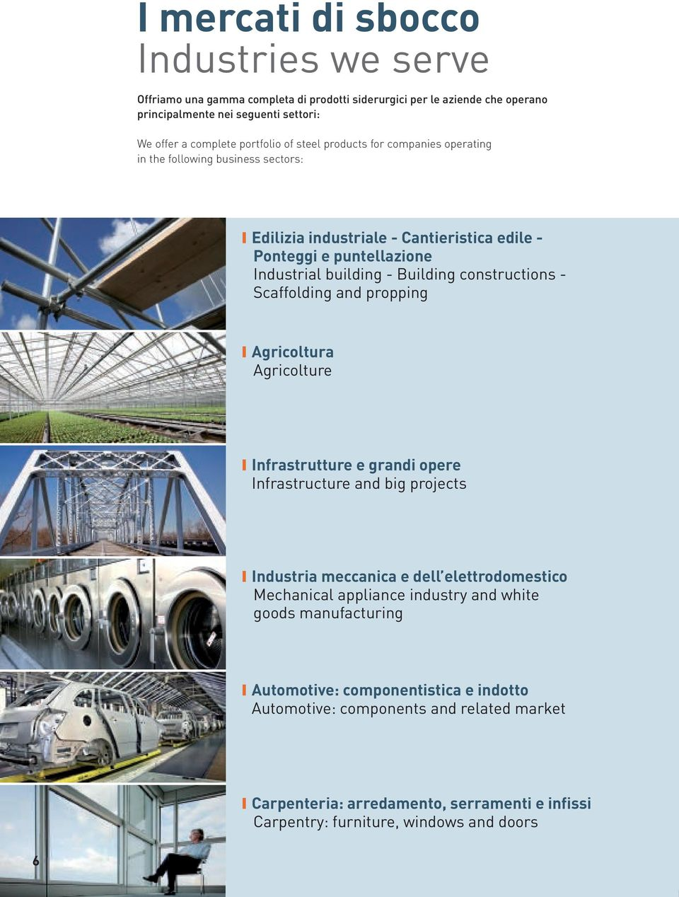 Scaffolding and propping Agricoltura Agricolture Infrastrutture e grandi opere Infrastructure and big projects Industria meccanica e dell elettrodomestico Mechanical appliance industry and