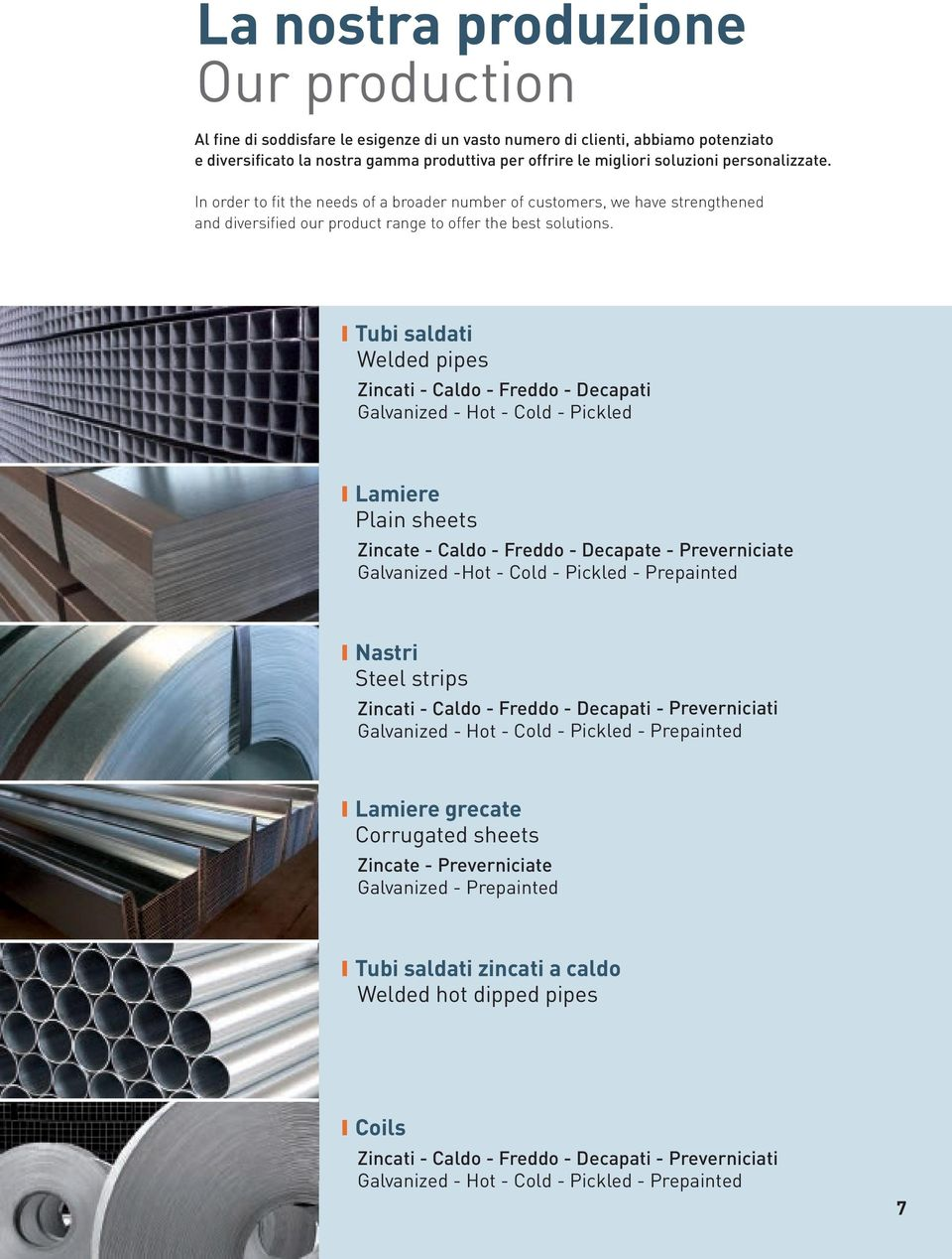 Tubi saldati Welded pipes Zincati - Caldo - Freddo - Decapati Galvanized - Hot - Cold - Pickled Lamiere Plain sheets Zincate - Caldo - Freddo - Decapate - Preverniciate Galvanized -Hot - Cold -