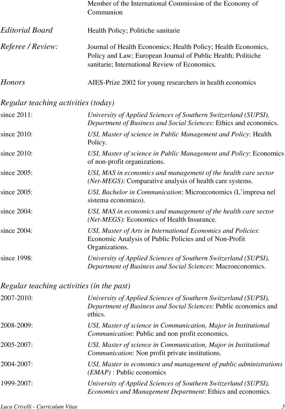 AIES-Prize 2002 for young researchers in health economics Regular teaching activities (today) since 2011: since 2010: since 2010: since 2005: since 2005: since 2004: since 2004: since 1998: Regular