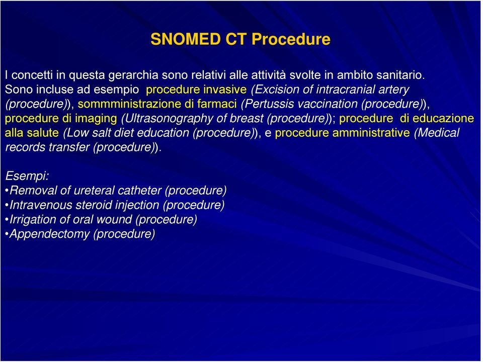 (procedure)), procedure di imaging (Ultrasonography of breast (procedure)); procedure di educazione alla salute (Low salt diet education (procedure)), e