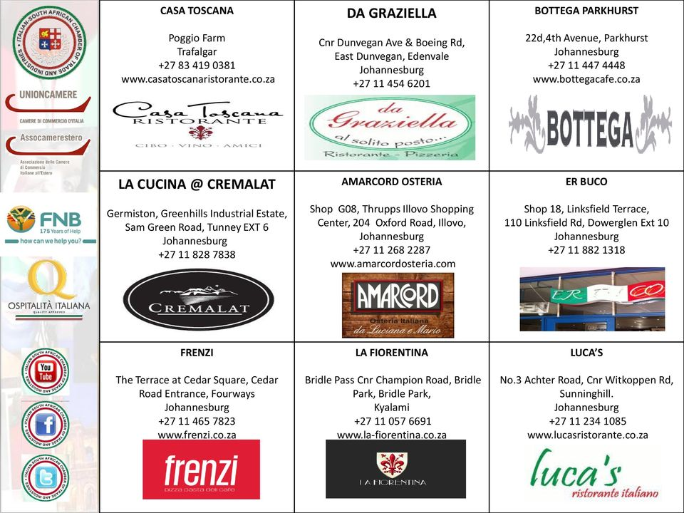 za LA CUCINA @ CREMALAT Germiston, Greenhills Industrial Estate, Sam Green Road, Tunney EXT 6 +27 11 828 7838 AMARCORD OSTERIA Shop G08, Thrupps Illovo Shopping Center, 204 Oxford Road, Illovo, +27