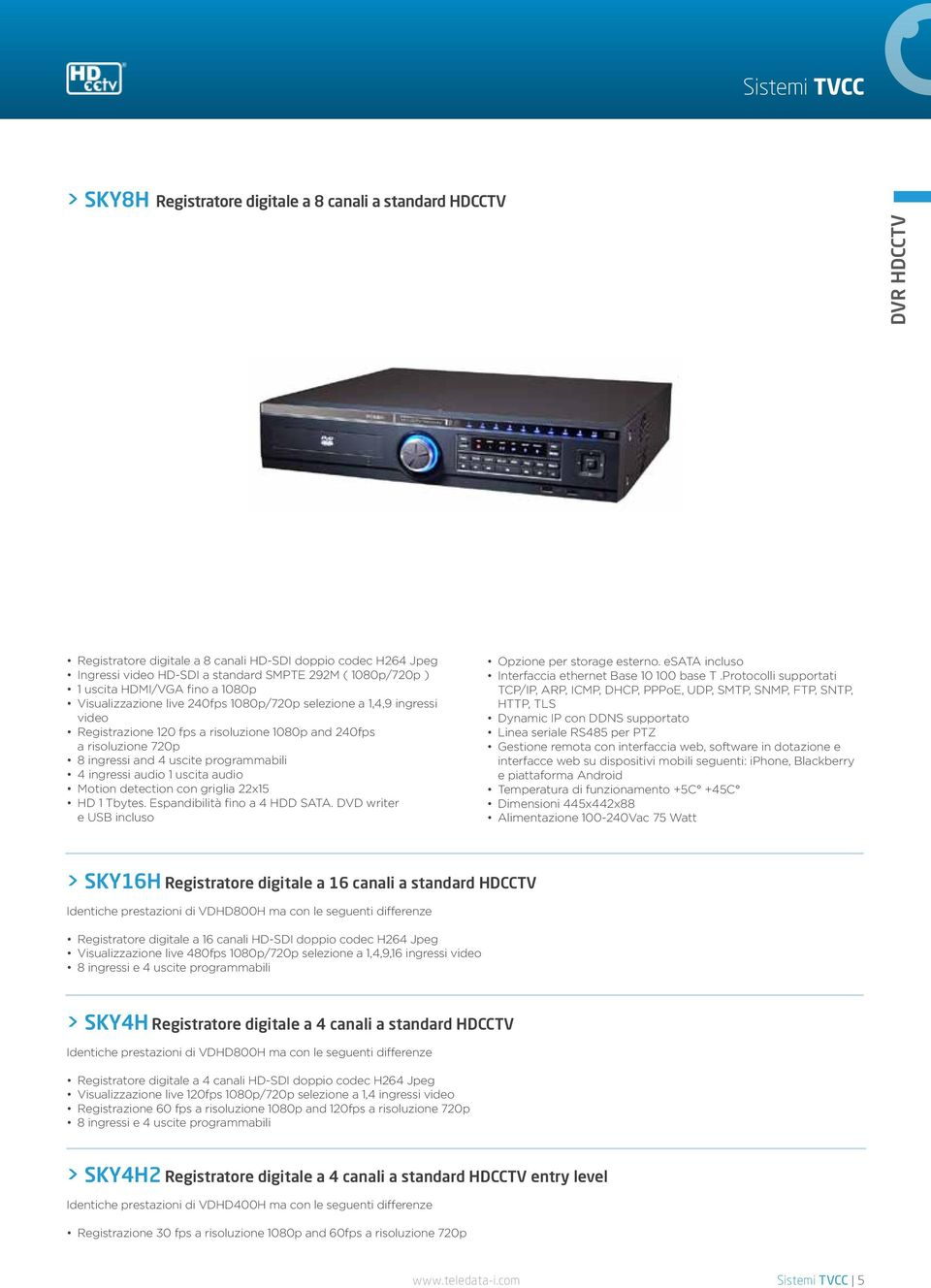 programmabili 4 ingressi audio 1 uscita audio Motion detection con griglia 22x15 HD 1 Tbytes. Espandibilità fino a 4 HDD SATA. DVD writer e USB incluso Opzione per storage esterno.