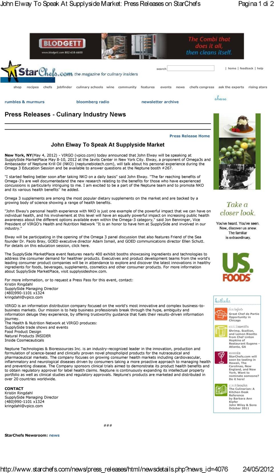 murmurs bloomberg radio newsletter archive Press Releases - Culinary Industry News John Elway To Speak At Supplyside Market Press Release Home New York, NY(May 4, 2012) - VIRGO (vpico.