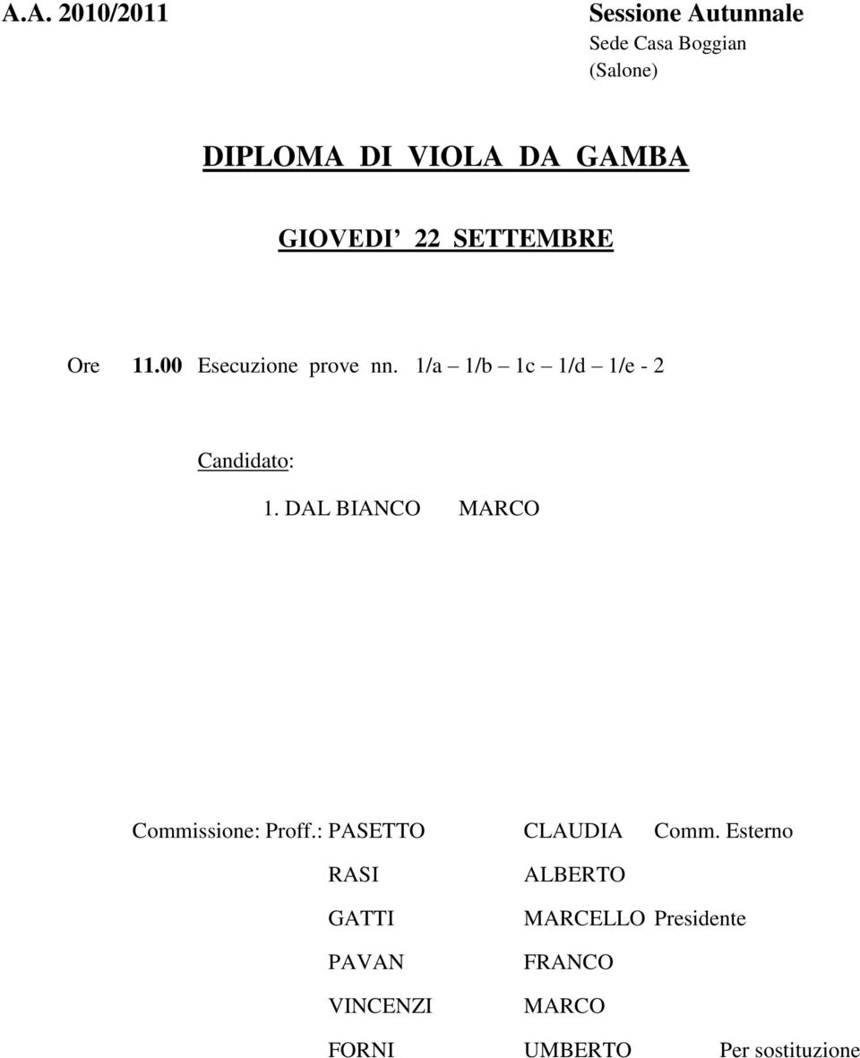 DAL BIANCO MARCO Commissione: Proff.: PASETTO CLAUDIA Comm.