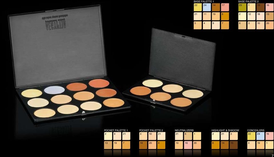 2 NEUTRALIZERS HIGHLIGHT & SHADOW CONCEALERS 2 9 21 3 10 21 21