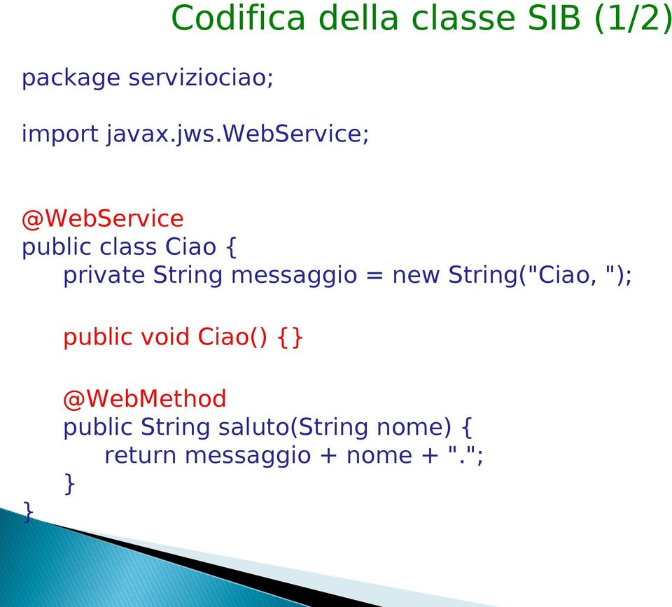 webservice; @WebService public class Ciao { private String