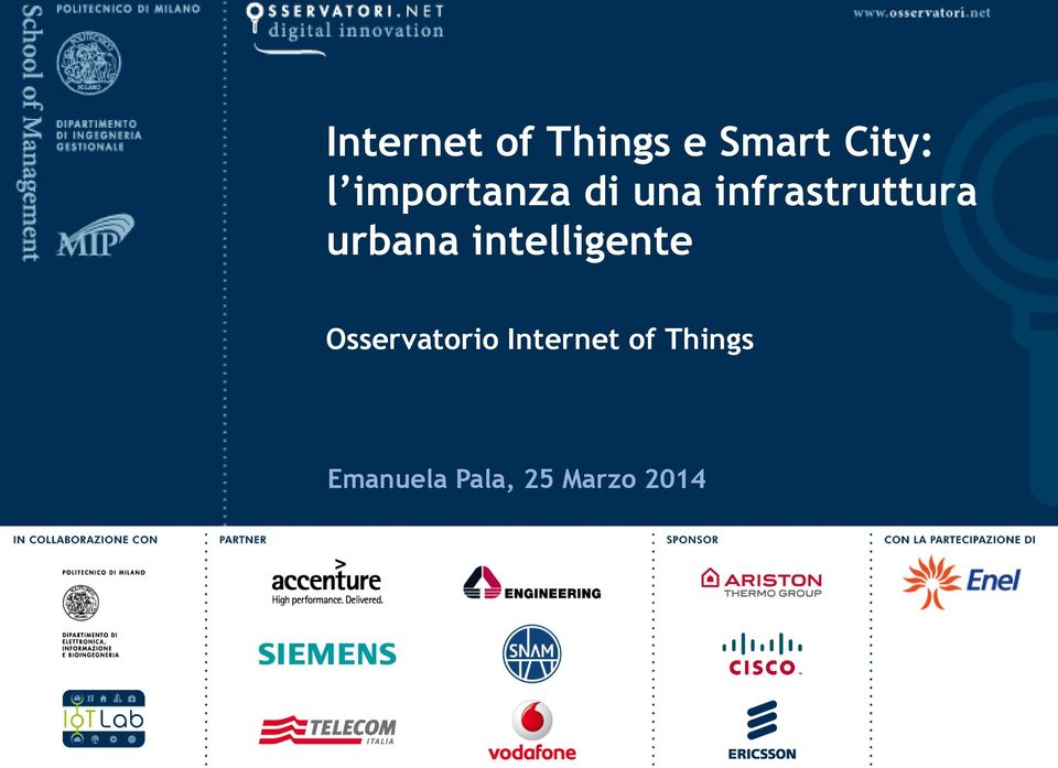 urbana intelligente Osservatorio