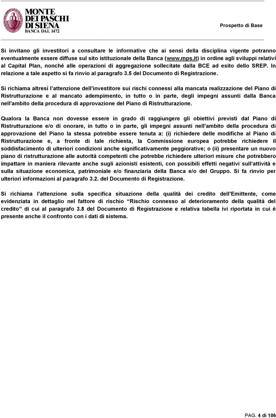 5 del Documento di Registrazione.