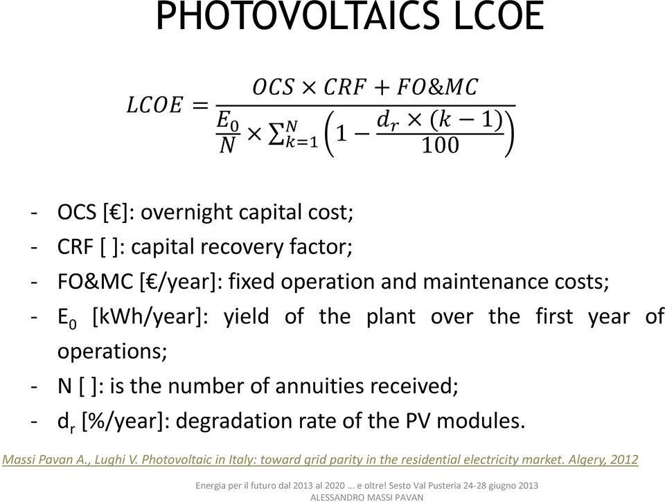 of operations; - N [ ]: is the number of annuities received; - d r [%/year]: degradation rate of the PV modules.