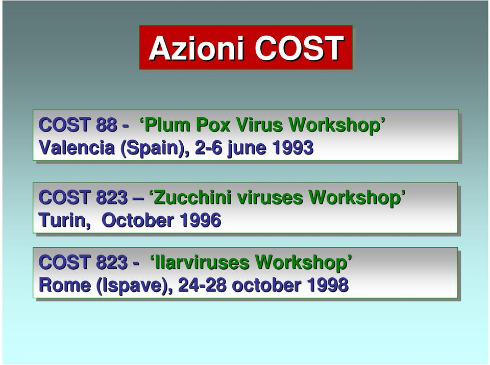 Zucchini viruses Workshop Turin, October 1996 COST
