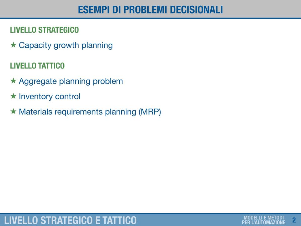 TATTICO Aggregate planning problem